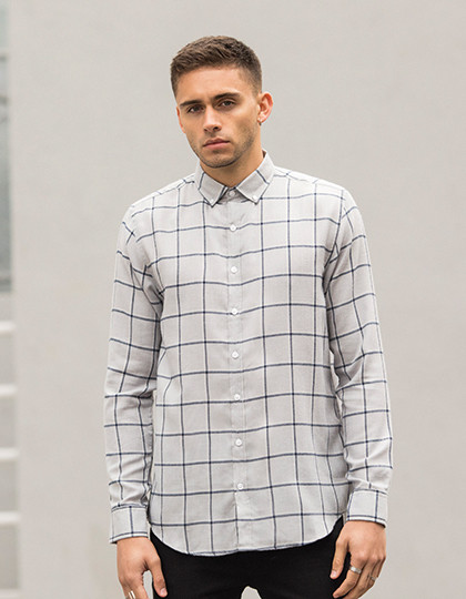 Men`s Brushed Check Casual Shirt SF SF560 - Z długim rękawem