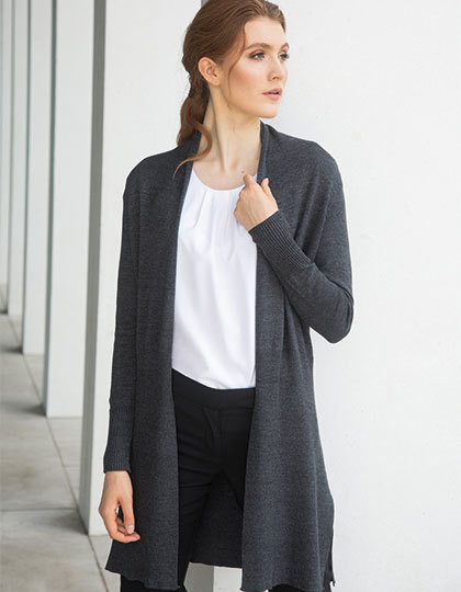 Ladies Longline Open Cardigan Henbury H719