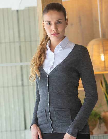 Ladies V Button Cardigan Henbury H723