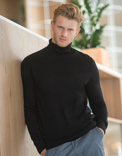 Mens Roll Neck Jumper Henbury H727 - Z długim rękawem