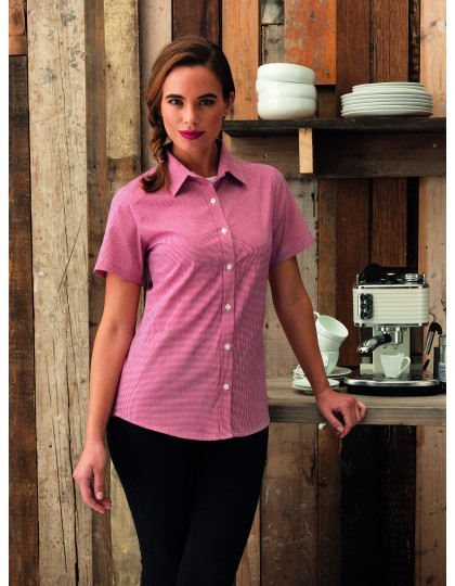 Ladies Microcheck (Gingham) Short Sleeve Shirt Cotton Premier Workwear PR321