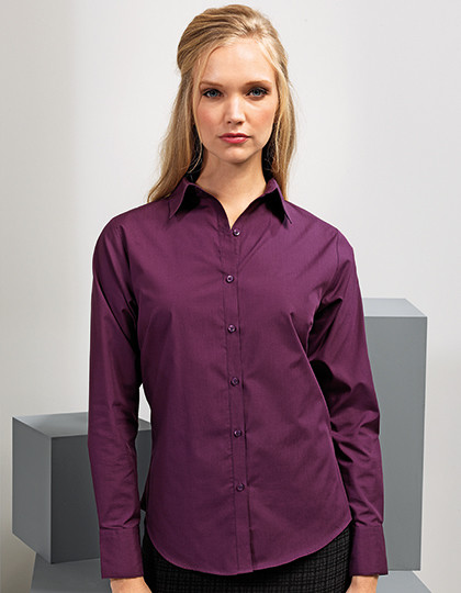 Ladies Poplin Long Sleeve Shirt Premier Workwear PR300 - Koszule damskie