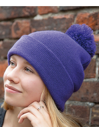 Pom Pom Beanie Result Winter Essentials RC028X - Czapki