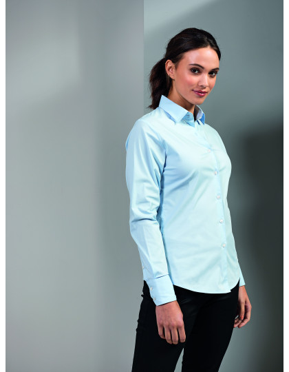 Ladies Stretch Fit Cotton Poplin Long Sleeve Shirt Premier Workwear PR344