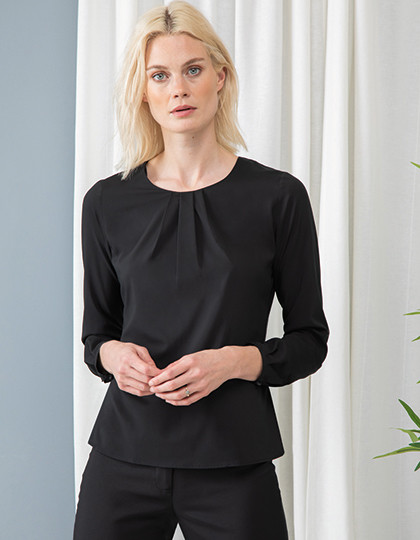 Ladies Pleat Front Long Sleeved Blouse Henbury H598