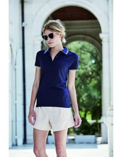 Ladies Luxury Stripe Stretch Polo Tee Jays 1408