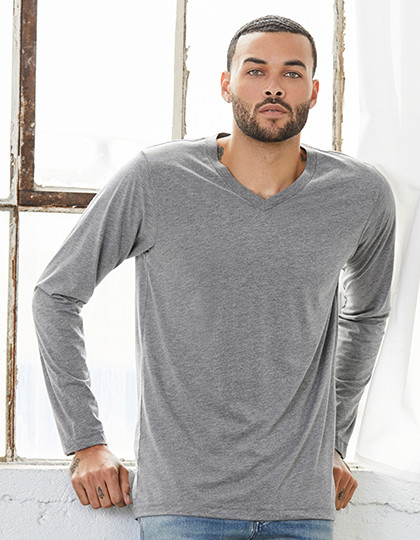 Triblend Long Sleeve V-Neck Tee Canvas 3425 - Z długim rękawem