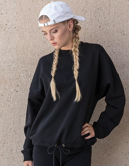 Ladies Oversize Crewneck Build Your Brand BY058 - Z długim rękawem