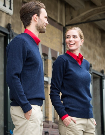 Lambswool V-Neck Jumper Henbury H730 - Swetry męskie