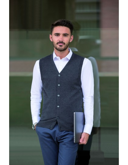 Mens V-Neck Sleeveless Knitted Cardigan Russell Collection R-719M - Marynarki i kamizelki
