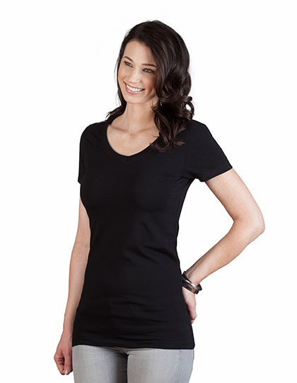 Women´s Slim Fit V-Neck-T Long Promodoro 3087 - Dekolt w kształcie V