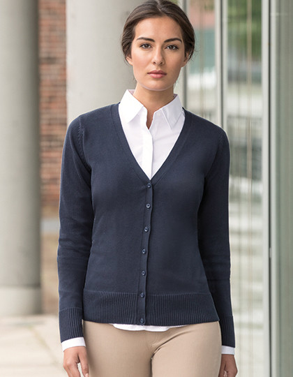 Ladies´ V-Neck Knitted Cardigan Russell Collection R-715F-0