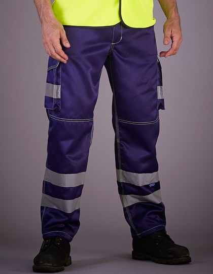 High Visibility Cargo Trousers with Knee Pad Pockets YOKO HV018T - Spodnie