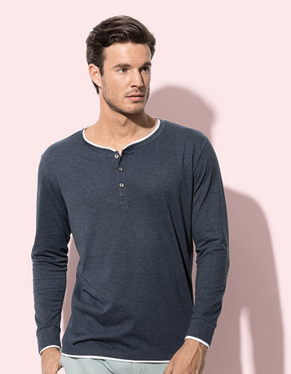 Luke Long Sleeve Henley T-shirt for men Stedman® ST9860 - Z długim rękawem