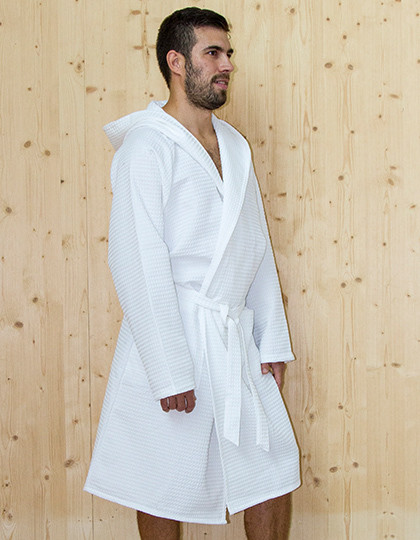 Waffle Bathrobe Hooded / Men Bear Dream BR6006 - Szlafroki