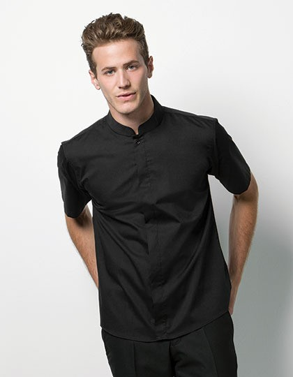 Męski Bar Shirt Mandarin-Collar Shortsleeve