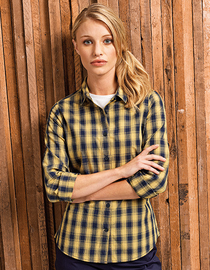 Ladies Mulligan Check Cotton Long Sleeve Shirt Premier Workwear PR350 - Koszule damskie