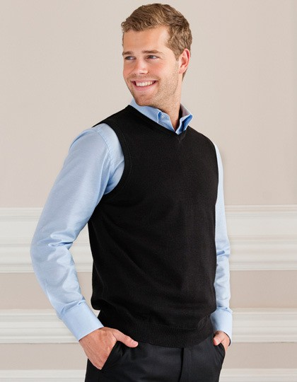 Men´s V-Neck Sleeveless Knitted Pullover Russell Collection R-716M-0 - Swetry męskie