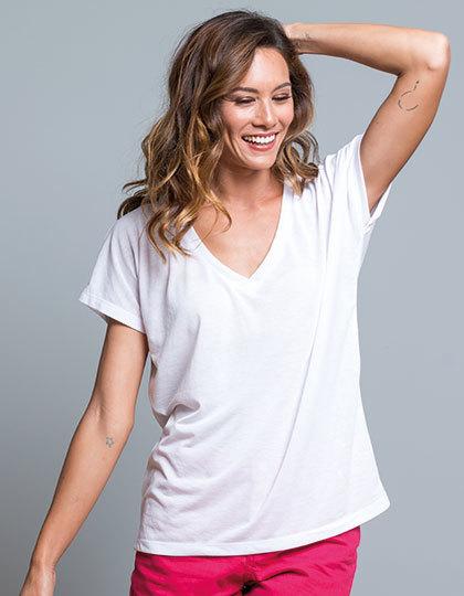 Modne koszulki z dekoltem w kształcie V Oversize T Shirt JHK