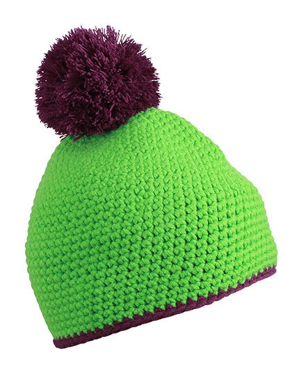 Pompon Hat with Contrast Stripe Myrtle Beach MB7964 - Czapki zimowe