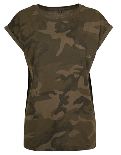 Ladies Camo Extended Shoulder Camo Tee Build Your Brand BY112