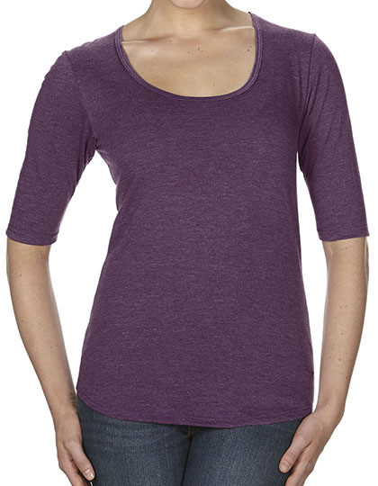 Women's Tri-Blend Deep Scoop 1/2 Sleeve Tee Anvil 6756L