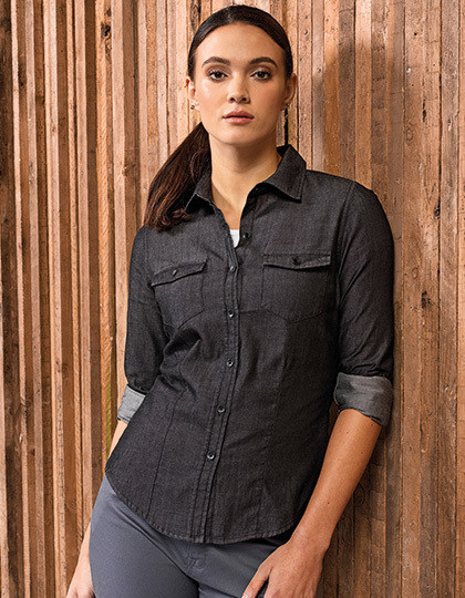 Ladies Jeans Stitch Denim Shirt Premier Workwear PR322 - Koszule damskie