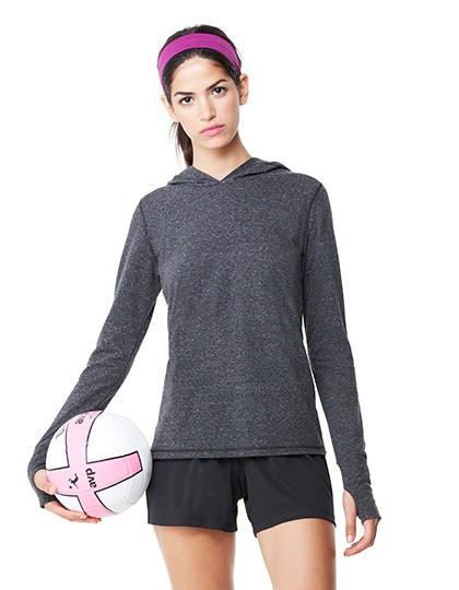 Women´s Performance Triblend Long Sleeve Hooded Pullover With Runner´s Thumb All Sport W3101 - Bluzy sportowe